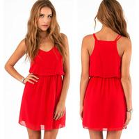 Free Shipping 2014 Women Summer Pleated Casual Dress Double Spaghetti Strap Sleeveless Chiffon Dress XS-XXL Red & Black