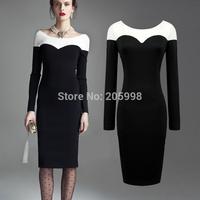 2015 spring winter black New Womens Elegant Bodycon casual office work Long Sleeve Sheath Shift pencil vintage warm Dress 766