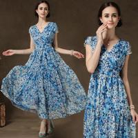 New Arrival Fashion Women Aquamarine Flower Print Chiffon Dress Summer Cascading Ruffle Beautiful Dress For Women 8113#