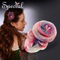 Special Fantasy Hair Clip Free Shipping Hair Accessories Handmade Silk Crystal Hairpin For Girl Women FS141112