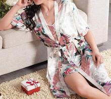 Q908 2014 new summer sexy silk nightgown women's casual loose pajamas  women bra set bathrobe  pajama sets kimono 2 pieces(China (Mainland))