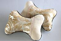 2015 Hot New car pillow 2 pcs High-grade light golden embroidered pillow bones car headrest pillow for lumbar support pillow