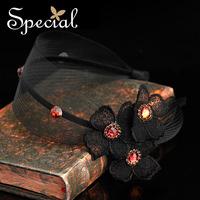 Special Black Handmade Hair Accessories Free Shipping Vintage Silk Hair Clasp FS141113