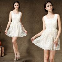Free Shipping 2015 Spring and Summer Chiffon One-piece Dress Sleeveless Square Collar White Gauze Lace Women's Dress 8123#