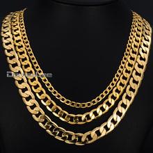 Wide Mens Flat CUT CURB CUBAN Necklace Chain Gold Filled GF GNM50