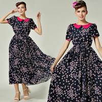 Women's High Quality Dresses Summer Long Design Small Vintage Short-sleeve Dress For Girl Turn-down Collar Elastic Waist  8603#