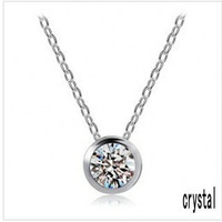 Holiday sale white gold plated austria rhinestone necklace pendant fashion jewelry make with crystal element 1214