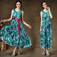 Digtal Floral Print Silk Chiffon Dress Plus Size Women Clothing Slim Waist Women's High Quality Dresses With Belt 8112#