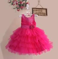 Girl's Paty Dress  Summer Sleeveless Flower Child Tutu Dress Children Princess Dress Flower Sequin Evening Dress 6pcs/lot
