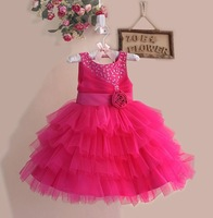 Girl's Paty Dress  Summer Sleeveless Flower Child Tutu Dress Children Princess Dress Flower Sequin Evening Dress 6pcs/lot