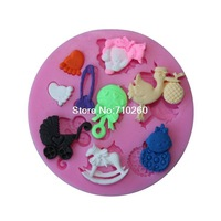 Free shipping 1Pcs baby toy shaped Chocolate Candy Jello 3D silicone Mold soap Mould Cartoon Figre/cake tools