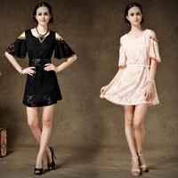 High Street Off-Shoulder Dress For Women Advanced Jacquard With Belt Chiffon Laciness Two Ways Dress Plus Size 58016#