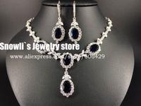 2015 luxury fashion water drop Sapphire blue zircon Austria crystal necklace earrings set, wedding, bride, dress jewelry ,S14026
