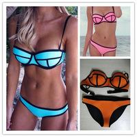 2014 Sexy Women's Neoprene Swimsuit Triangle MILLY Neoprene Bikinis Set Push Up neoprene swimwear Orange Color