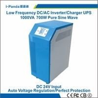 LCD 700W Hybrid Solar Inverter DC24V to AC 1000va inverter  Pure sine Wave Output For Home Application 1000va UPS