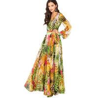 Summer tropical flower print chiffon dresses with sleeves long temperament haoduoyi postagewomen summer dress
