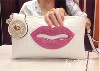 2014 new fashion sexy red lips Diamond patent leather clutch evening bag handbag shoulder diagonal
