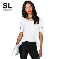 2014 Fashion chiffon Lady's hollow out Sleeves white Summer Casual Style Top  plus size irregular gothic mesh long T-Shirt
