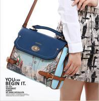 2014 Fashion Printing Women Student PU Leather Handbag Vintage Purse Ladies Travel Messenger Bags,New Casual Shoulder Bag