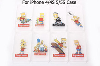 1PCS Case for iPhone 4 4S & 5 5S Hot Sale Cartoon The Homer Simpsons Bart Transparent Hard Back Mobile phone Covers For iPhone4