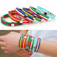 Promotion Gifts Football Soccer Fans Women Men Leather Flag Bracelet Loom Bands Bracelets Jewelry Free Shipping