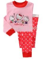 hello kitty,Free Shipping,baby boys girls Pure Cotton long sleeve T-shirt+pant pajamas /clothing set  6pcs/lot