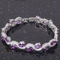 Charming Bracelets 18K k Gold Plated Amethyst Design AAA Zircon & Purple Crystal Health Nickel & Lead free Fashion jewelry TB295