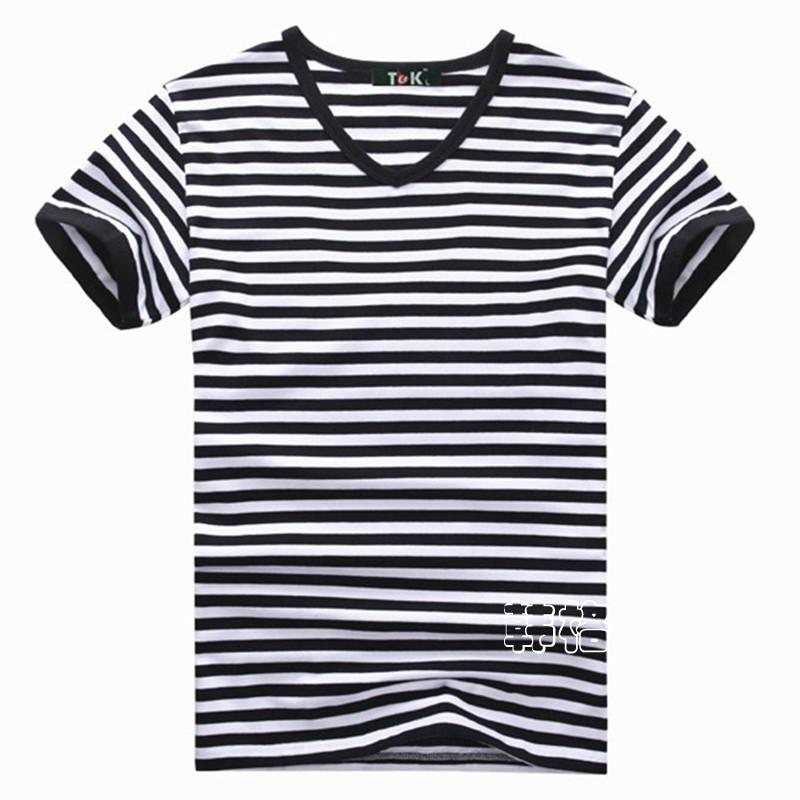 [해외] 플러스 사이즈 패션 스트라이프 T 셔츠 남성 남성 캐주얼 남..
