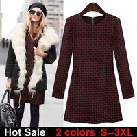 Free Shipping vestidos casual dresses 2015 plus size fashion long sleeve warm cotton blends plaid women autumn winter dress C457