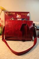 New Sale Vintage Women Messenger Bags Oil Wax Pu Leather Classic Fashion Retro Shoulder Handbags Cute School bolsa Bow Tote