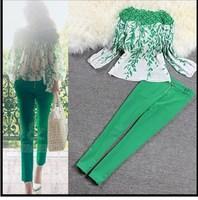 Spring Summer 2014 fashion new European American women lace stitching long sleeved Print (chiffon shirt + pencil pants) suit