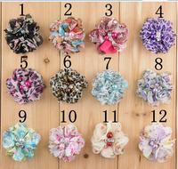 wholesale leopard print chiffon flowers  fabric flowers for headband pearl rhinestone DIY flowers girls accessories 100pcs/lot