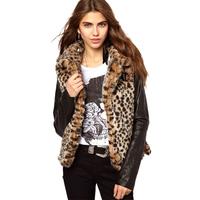 women fur coat  new 2014 fashion patchwork leopard slim long sleeve faux fur autumn and winter women coat 8185