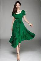 2014 Spring plus size clothing women's medium-long irregular big dress chiffon full dress one-piece dress