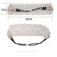Women Fashion Fabric Lace Wide Stretch Headband Romantic Retro Cotton Headwrap