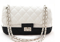 Classic Women Black White Color Matching Guilted  Handbag PU Simple Grace Multifunction