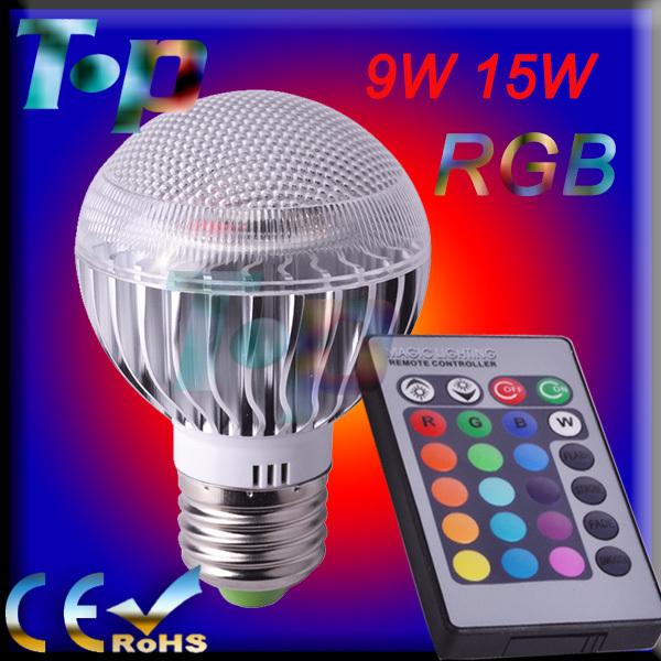 RGB LED Bulb E27 9W 15W 85-265V Free shipping 1 pcs/lot led Bulb Lamps with Remote Control multiple colour led lighting(China (Mainland))
