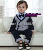 Retail 1-3Y fashion boys suits for weddings New 2014 Autumn term begins children clothing sets 4pcs suits(bow+Vest+t shirt+pant)