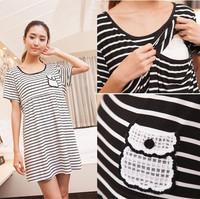 Modal Striped Maternity Nursing Dress Breast Feeding Clothes for Pregnant Women Fashion Summer Clothing for Pregnancy 3310