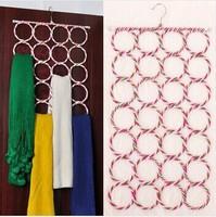 28-hole Ring Rope Slots Holder Hook Scarf Wraps Shawl Storage Hanger Organizer C568
