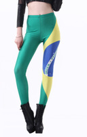 East Knitting 2014 fitness clothing for women Auriverde Legging Brazil Flag Digital Print Leggings World Cup drop shipping S901