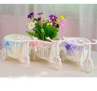 2014 Hot 1pcs bike/flower pot big wheel round basket rattan floats flower vase flowerpots fit home decoration/Photo props 671542
