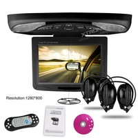"11.3"" HD Car Flip Down Monitor Roof Mounted DVD Player ,1280*800 Rotating Screen 270 Overhead Ceiling Monitor DVD USB SD Game"