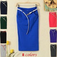 Low price factory price free shipping fashion women figure flattering knee length long skirts work career sexy slim skirt 7 colo