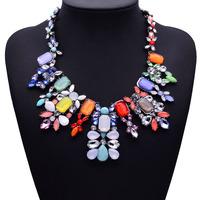 2014 Newest Women Statement Necklace Brand ZA Vintage Jewelry Flower Bib Multicolor Fashion Necklaces & PendantsWomen Collar8730