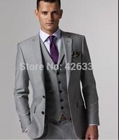 2015 Men Wedding Jacket Two buttons Light gray Notch Lapel Groom Tuxedos Best Man Suits Groomsmen Men Wedding Suits Jacket