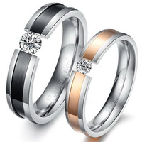 Surgical Steel Cubic Zirconia Lovers Rings For Couples Fashion Jewelry Wholesale Cute Family Gift