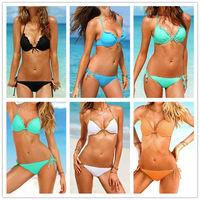 BK105 Fashion Beach Swimwear Women Gather Push Up Bikinis Set Brand Quality Hot Sale 2014 Ladies Sexy 5 Design Swimsuit