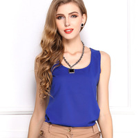 New 2014 Fashion Women Summer Chiffon Tank Tops 15 Candy Colors Plus Size Loose Vest Shirts Casual Tops For Women 1003