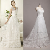 2014 Free Shipping Custom Make High Quality V Neck Lace Appliqued Beaded Nice Lace Real Image Wedding Dresses